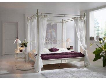 Junado® Himmelbett »Venezia«, im nostalgischen Flair für das klassische Schlafzimmer 140cm creme weiß, beige, 140x200, creme weiß