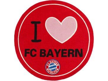 Böing Carpet Teppich »FC Bayern Runder Teppich 1.00 x 1.00 m Fussball Fan Lizensware«, Rund, Höhe 5 mm