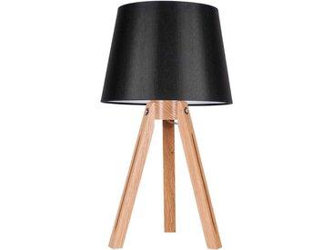 SPOT Light Tischleuchte »Tripod«, Dekorativer Leuchtenfuß aus edlem Eichenholz, hochwertiger Textilschirm, mit Schnurschalter An/Aus