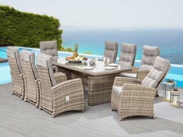 KONIFERA Gartenmöbelset »Monte-Carlo«, (25-tlg), 8 Sessel, Tisch 220x100 cm, Polyrattan, inkl. Auflagen