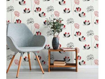 Erismann Vinyltapete, 10117-06 Novara Wandtapete Floral Vlies Tapete Vinyl Rot Modern Muster
