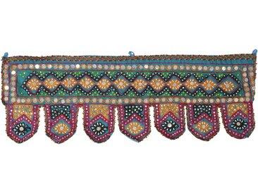 Guru-Shop Wandteppich »Indischer Wandbehang, Orientalischer Wimpel mit..«, Höhe 30 mm, türkisblau
