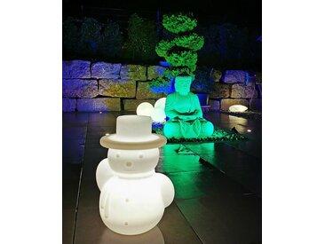 TRANGO LED Dekofigur, 7232L IP65 LED Leuchtfigur Schneemann *SNOWMAN* Höhe: ca. 60cm in Weiß satiniert inkl. ca. 5 Meter Zuleitungskabel und 1x E27 LED Leuchtmittel Gartenlampe, Außenlampe, Wegbeleuchtung