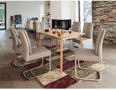 expendio Essgruppe »Viano«, (Spar-Set, 5-tlg), Massivholztisch Eiche natur 140x80 cm + Stühle Tina 2 Kunstleder schlamm, 5 tlg. - mit 4x Stuhl