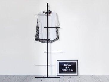kommod Leiterregal »SWENDRA«, Kleiderleiter, Handtuchleiter, Kleiderständer, Stummer Diener, Lehngarderobe, Dekoleiter, Anlehnleiter – 180 x 60 x 12 cm – Metall pulverbeschichtet schwarz