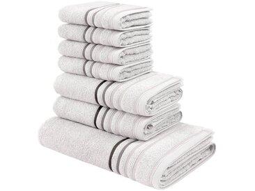 my home Handtuch Set »Niki« (Set, 7-tlg), mit Streifenbordüren, weiß, weiß