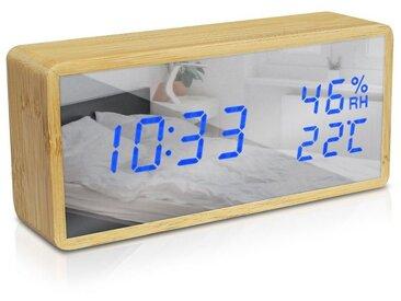 Navaris Wecker Bambus Digitalwecker - Luftfeuchtigkeit Temperatur Anzeige - Dimmer - 3 Alarmfunktionen - Spiegel Display - Digitaluhr Wecker