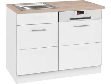 HELD MÖBEL Spülenschrank »Perth« Spülenschrank, Breite 110 cm, mit Tür/Sockel für Geschirrspüler, weiß, weiß