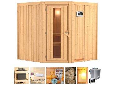 KONIFERA Sauna »Eero«, 196x196x198 cm, 9 kW Bio-Ofen mit ext. Strg., Energiespartür, natur, 9 kW Bio-Kombiofen mit externer Steuerung, natur