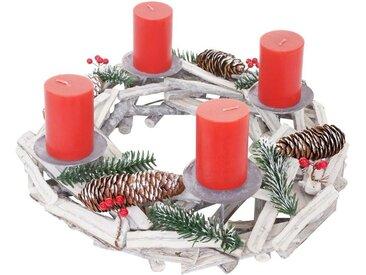 MCW Adventskranz »T870«, Ø 40 cm, Mit 4 Kerzenhaltern, Aufwendig geschmückt, weiß, weiß, rote Kerzen