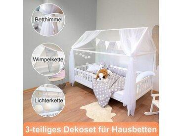 Alcube Hausbett »Kinderbett Deko mit Baldachin Cotton Ball Lichterkette 2.25M 10 LED Lichterkette Bälle und Wimpel Kinderzimmer Komplett Dekoration SET in grau-weiß«