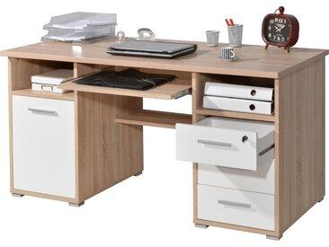 GERMANIA Schreibtisch »0484«, mit Tastaturauszug und abschließbarem Schubkasten, beige, eichefarben-weiß
