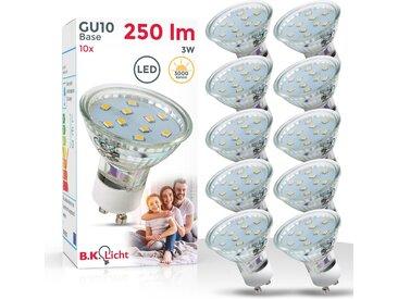 B.K.Licht LED-Leuchtmittel, GU10, 10 Stück, Warmwei��, Ersetzt 35W Halogen-Birne – Reflektorform – 250 Lumen – 3000K für warmweisses Licht