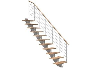 Dolle DOLLE Mittelholmtreppe »Hamburg Eiche 75«, bis 258 cm, Edelstahlgeländer, versch. Ausführungen, natur, gerade, natur