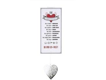 GILDE Metallschild, Wetterstein, Wetterstation als Aluschild, Modell EHE mit Herz, Material Metall, Maße Schild 30 x 14 cm, ideal als Geschenk