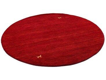 Pergamon Wollteppich »Natur Teppich Indo Napal Gabbeh Shiva Rund«, Rund, Höhe 10 mm, rot, Rot