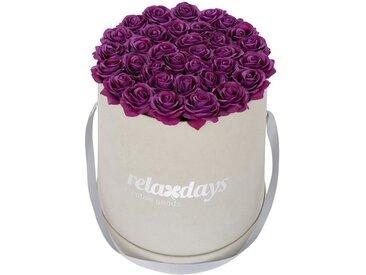 relaxdays Kunstblume »Graue Rosenbox rund 34 Rosen«, Höhe 33 cm, lila, Lila