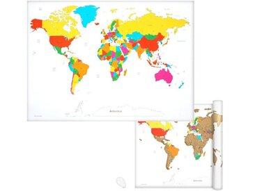 Navaris Wandtafel, Weltkarte Landkarte zum Rubbeln - 82 x 59 cm Rubbelkarte mit Rubbelchip - Scratch Off World Map Poster English, weiß, weiß