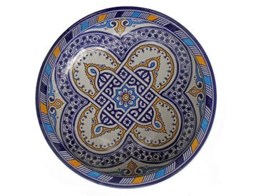 Casa Moro Dekoteller » Orientalische Keramik Schale F023 rund Ø 34 cm bunt, Handbemalte Servierschale Handmade Schüssel Obstteller