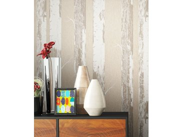 Newroom Vliestapete, Blumentapete Beige Wallpaper Floral Blumen Tapete Birke Bäume Wohnzimmer Schlafzimmer Büro Flur