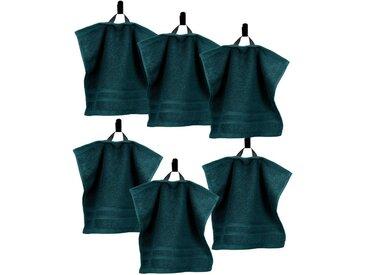 Lashuma Handtuch Set »London« (6-tlg), 6er Set Waschlappen, Uni Gästetücher 30x30 cm, grün, Opal Grün