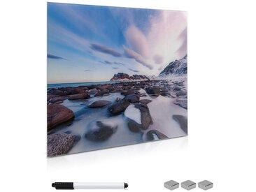 Navaris Magnettafel, Memoboard Glas 50x50cm - Tafel magnetisch im Beach Design - Magnetwand zum Beschriften - Board inkl. 3x Magnet Halterung Stift