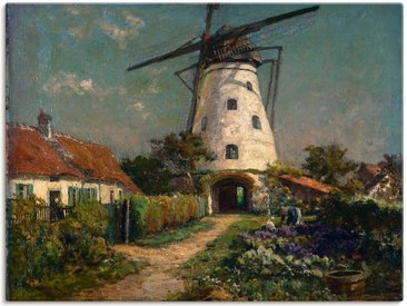Artland Wandbild »Bauerngarten bei einer Windmühle.«, Gebäude (1 Stück), Leinwandbild