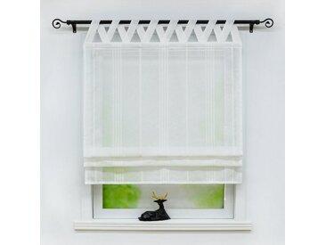 Delien Raffrollo »Thea«, mit Schlaufen, halbtransparentes Unifarbiges Bändchenrollo mit Längsstreifen Schals mit V Schlaufen Fenster Vorhänge, weiß