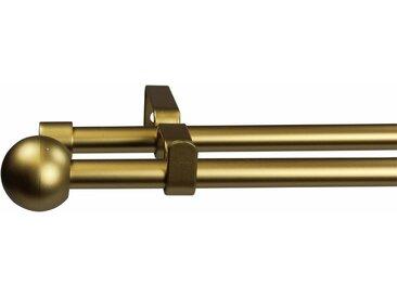 GARESA Gardinenstange, Ø 16 mm, 2-läufig, Wunschmaßlänge, goldfarben, 2 läufig, mattgoldfarben