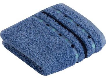 Vossen Waschlappen »Atletico« (3-tlg), mit aufwändiger Bordüre, blau, aqua