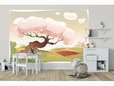 Bilderdepot24 Deco-Panel, selbstklebende Fototapete - Kinderbild - Märchenbaum, bunt, Vintage