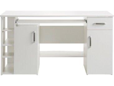 Schreibtisch »Tim«, mit 5 Fächern und Tastaturauszug, weiß, weißfarben