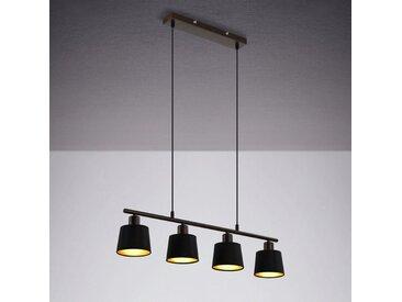 IMPTS LED Pendelleuchte, Esstischlampe aus Stoff, LED Hängelampe schwarz, Pendellampe höhenverstellbar