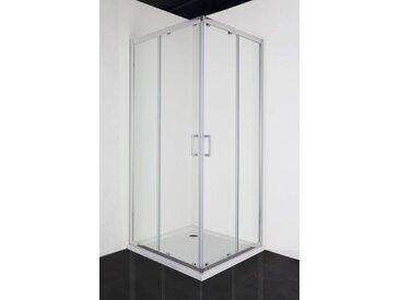 Sanotechnik Eckdusche »ELITE«, Duschkabine mit Anti-Kalk Beschichtung, BxT: 90 x 90 cm, silberfarben, mit Antikalk-Versiegelung, beidseitig montierbar