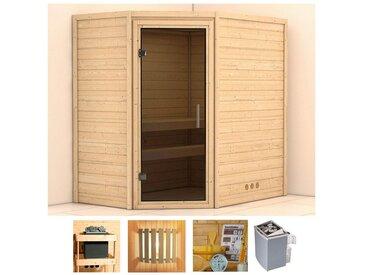 KONIFERA Sauna »Walram«, 196x144x198 cm, 9 kW Ofen mit int. Strg., Glastür graphit, natur, 9 kW mit integrierter Steuerung, natur