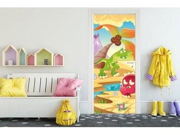 Bilderdepot24 Deco-Panel, Türaufkleber - Kinderbild Dinosaurier