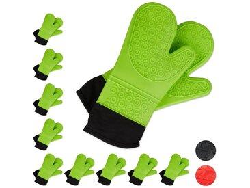 relaxdays Topfhandschuhe »10x Ofenhandschuhe Silikon grün«