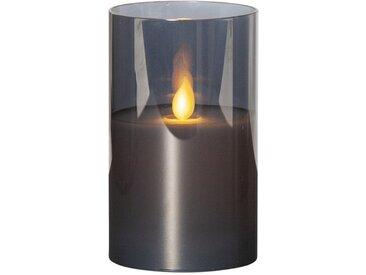 "STAR TRADING LED-Kerze »LED Kerze/Windlicht ""Twinkle"" - Echtwachs - mechanische Flamme - Timer - H: 12,5cm - rauchschwarz«"