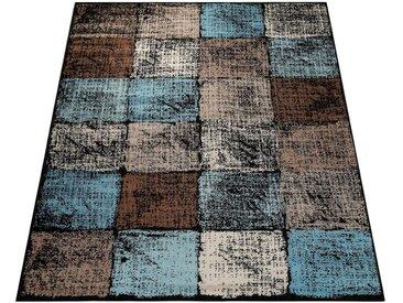 Paco Home Teppich »Metro 155«, rechteckig, Höhe 13 mm, Kurzflor mit Karo-Muster, braun, braun