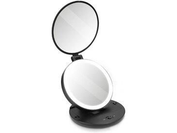 Navaris LED-Lichtspiegel, Taschenspiegel Kosmetikspiegel Schminkspiegel - LED Spiegel mit 5fach Vergrößerung Beleuchtung - Schmink Standspiegel beleuchtet