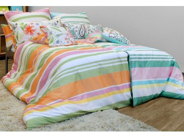 LIVING DREAMS Bettwäsche »Wende-Bettwäsche HOLIDAY STRPES«, trendige Streifen in tollen Sommerfarben, blau, 1 St. x 135 cm x 200 cm, türkis-bunt