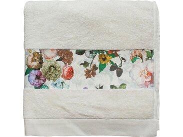 Essenza Duschtuch »Fleur« (1-St), Bordüre im wunderschönen Blumenprint, weiß, Loop-Aufhänger, natural