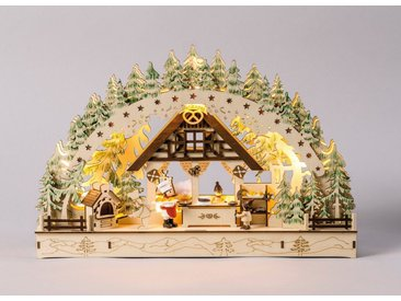 HGD Holz-Glas-Design Lichterbogen Weihnachtsbäckerei, natur, Ca. 45x7,5x29,5 cm