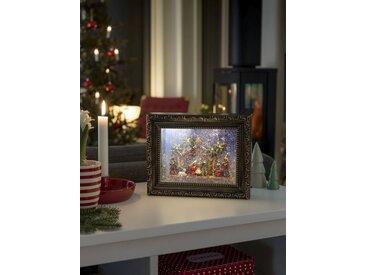 KONSTSMIDE LED Bilderrahmen mit Krippe, braun, Lichtquelle warm-weiß, Braun