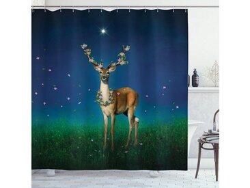 Abakuhaus Duschvorhang »Moderner Digitaldruck mit 12 Haken auf Stoff Wasser Resistent« Breite 175 cm, Höhe 180 cm, Hirsch Tier mit Blumen Antlers
