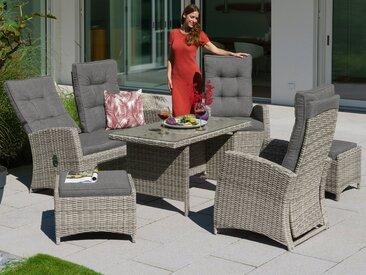 KONIFERA Gartenmöbelset »Monaco«, (15-tlg), 2er Sofa, 2 Sessel, 2 Hocker, Tisch 120x70 cm, Polyrattan, inkl. Auflagen