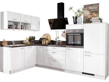 Express Küchen Winkelküche »Scafa«, ohne E-Geräte, vormontiert, mit Vollauszügen und Soft-Close-Funktion, Stellbreite 305 x 185 cm, weiß, Spüle links