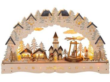 HGD Holz-Glas-Design LED-Lichterbogen Weihnachtsmarkt mit beweglicher Pyramide, natur, Natur