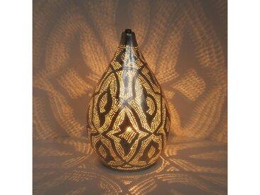 Casa Moro Nachttischlampe »Orientalische Lampe Alia Zouak D20 Silber marokkanische Tischlampe aus Messing, ESL2210«