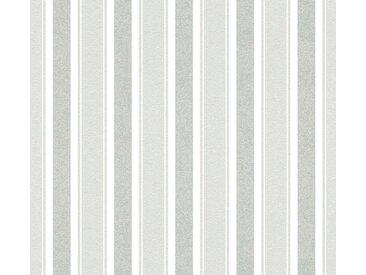 living walls LIVINGWALLS Vliestapete »Neue Bude 2.0 mit Glitzereffekt gestreift«, bunt, 0.53 m x 10.05 m, weiß/grau/silberfarben